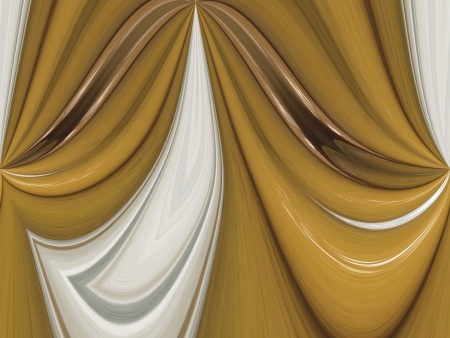 A digitally generated image using a set of algorithms on an original photo of oranges and peaches creating the look of points pinned up to form a drape.