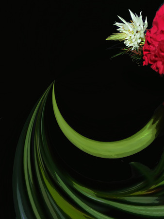 A digitally generated image using a set of algorithms on an original photo of a carnation and white flower and their stems creating an abstract of the flowers.  Фото со стока