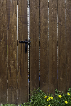 Red wood fence with latch and weed at the bottom.