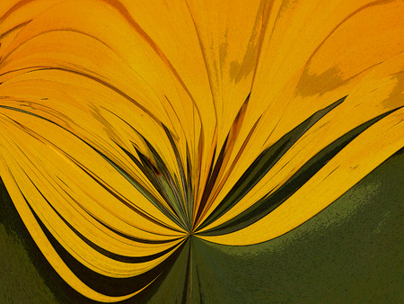 algorithms: A digitally generated image using a set of algorithms on an original photo of a sunflower made abstract.