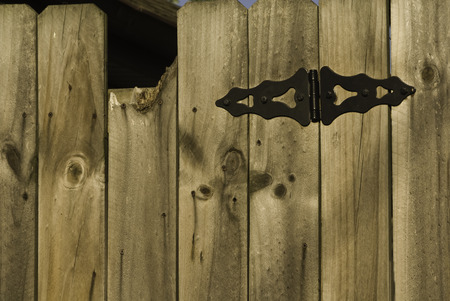 Wooden gate with black ornate hinge.