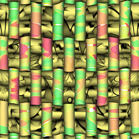 breen: A digitally generated image using a set of algorithms on an original art piece of colors and lines. Stock Photo
