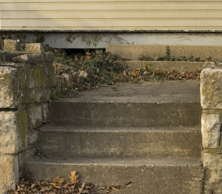 Concret steps bookmarked with short brick walls leading to amystery end.