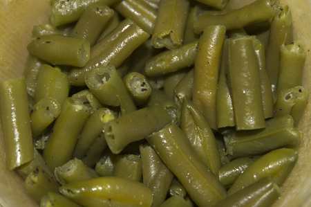 cust and cleaned green beans ready for dinner preparation. Stock Photo
