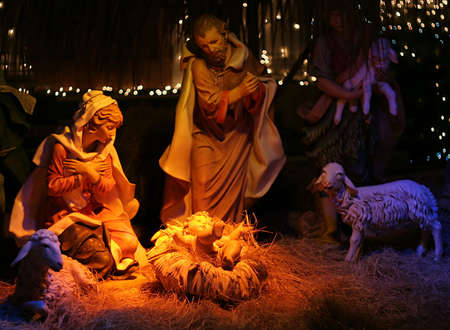 jesus mary joseph: Night shot of a Nativity Scene Stock Photo