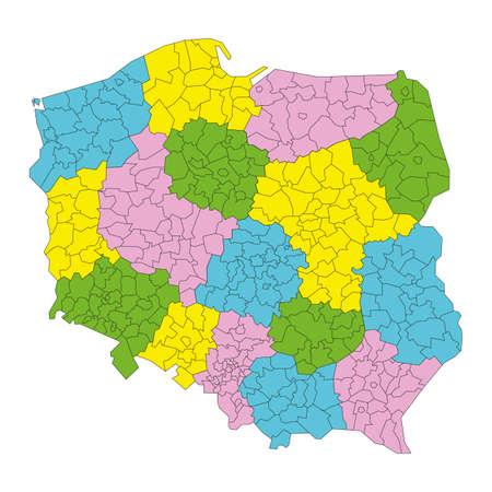 Polska mapa administracyjna podzia? na powiaty i wojew?dztwa wektor
