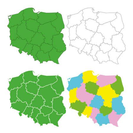 wielkopolskie: Polska mapa administracyjna wektor