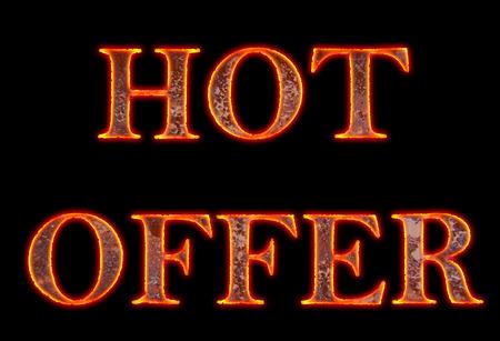 meta: Hot Offer, hot text Stock Photo