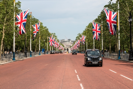 London, Westminster, UK, 06 June 2016: The Mall decorated for the Queens 90 birthday celebrations. Editorial