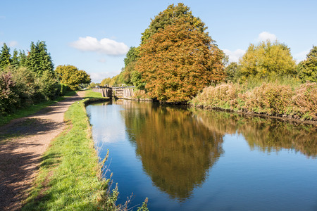 canal lock: British autumn landscape. Lock on the canal Stock Photo