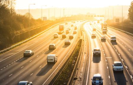 London, UK - December 18, 2017: Sunset above busiest British motorway M25
