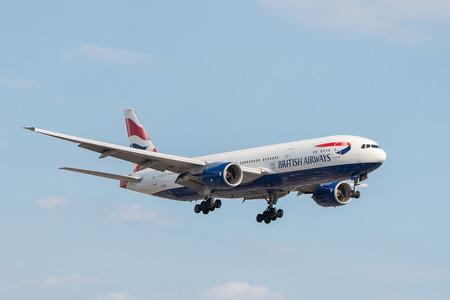 London, UK - July 9, 2017: Plane Boeing 777 British Airways landing at London Heathrow Airport