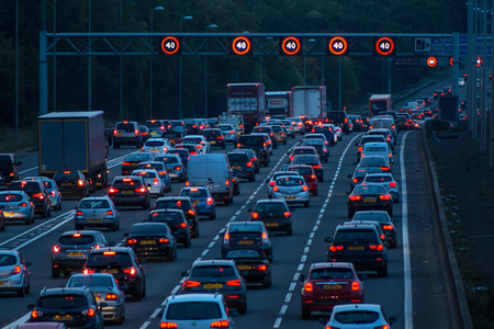 Watford, UK - September 24, 2017: Evening traffic jam on British motorway M1.M25M1 junction. Editorial