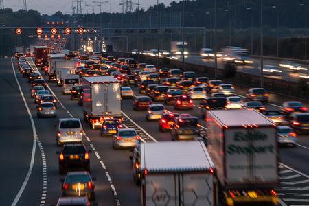 Watford, UK - September 24, 2017: Evening traffic jam on British motorway M1.M25/M1 junction. 報道画像