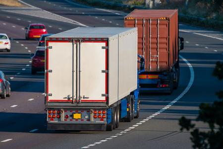 Road transport, lorries in motion on the motorway