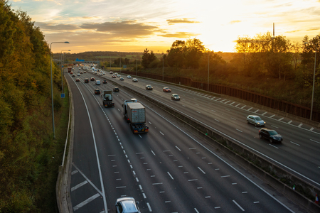 London, UK - October 18, 2018: Evening heavy traffic on busiest British motorway M25