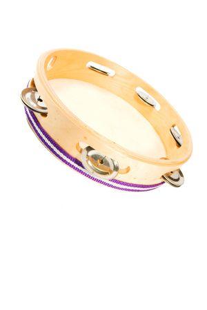 pandero: Tambourine en blanco. Foto de archivo