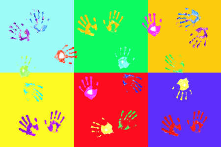 hand print: Colorful handprints made by children on bold color blocks