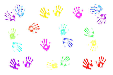 Actual handprints made by children on white background Stock Photo