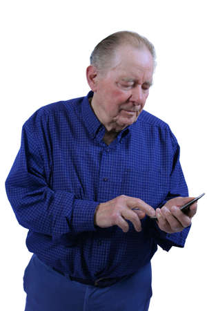Elderly man using cell phone,dialing cell phone Stock fotó