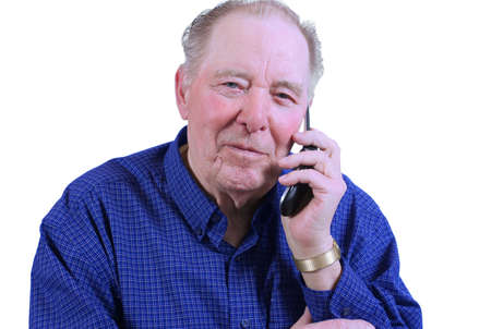 Elderly man using cell phone,talking on cell phone