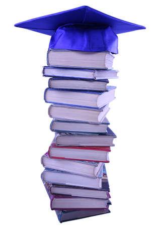 Graduation dop op de bovenkant van het boek van stapel