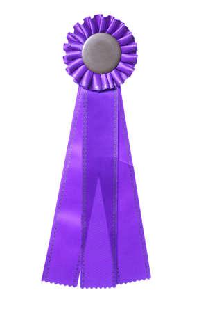 Purple ribbon award isolated on white