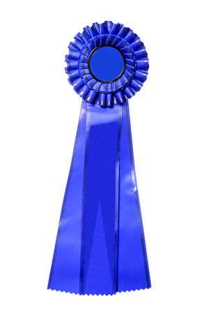 Blue ribbon award isolated on white Stock Photo