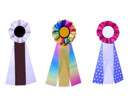 Set of three satin ribbons photo