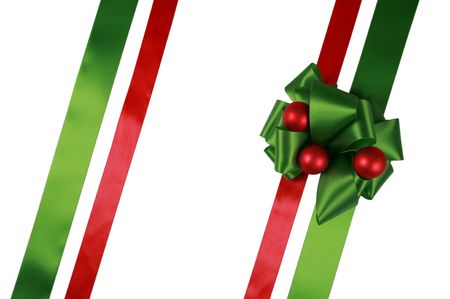 green lines: Red and green ribbons with bow, isolated, ready for overlay over a gift box