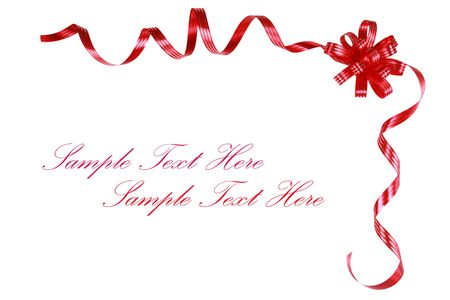 decoration: Red bow and ribbons along top corner, isolated and ready for text