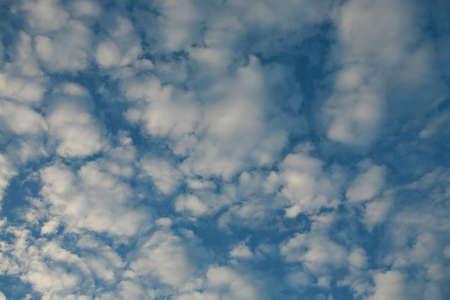 sidelit: Altocumulus mackeral sky sidelit by setting sun
