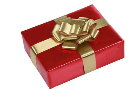 red gift box: Red gift box with gold ribbons