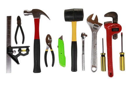 open end wrench: Assortment of many different tools isolated on white