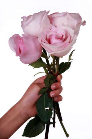 ピンクのバラの花束を持っている子供の手