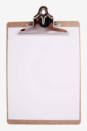 Clipboard with paper isolated on white Stok Fotoğraf