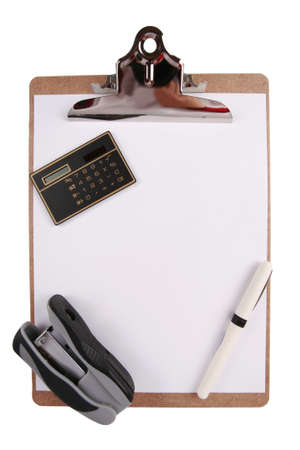 office stapler: Clipboard with calculator, pen and stapler Stock Photo