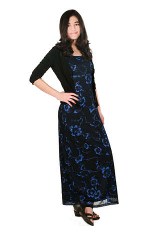 causcasian: Teenage girl in elegant dress standing