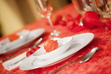 Elegant Christmas table setting in red with a Japanese lantern flower as focal point