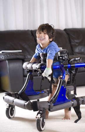 disabled children: Disabled child in walker