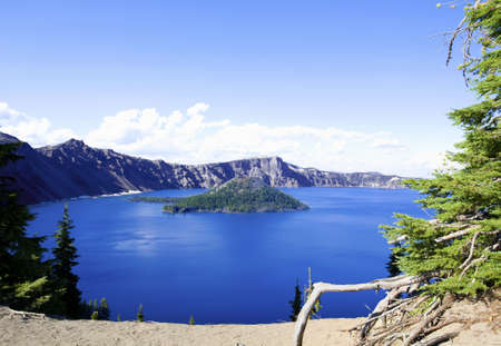 crater lake: Deep blue Crater Lake of Oregon State, in the summer