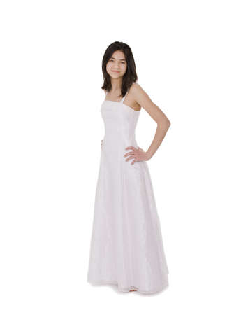 Beautiful young teen girl in white dress or gown, isolated on white Stock Photo - 15584962