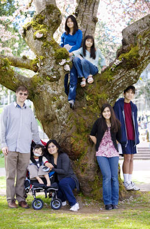 cerebral palsy: Multiracial family of seven next to cherry tree in full bloom. Spring time.Little boy in wheelchair disabled with cerebral palsy Stock Photo