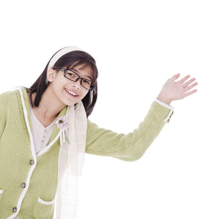 Biracial asian girl in green sweater and glasses waving a warm welcome, isolated photo