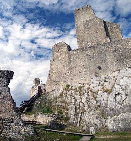 Ruined castle of Beckov situated in village Beckov in the western Slovakia in Trencin region photo