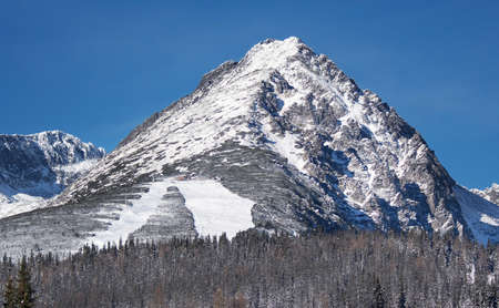 Close view of Predne Solisko mountain peak in Slovak High Tatras during winter photo