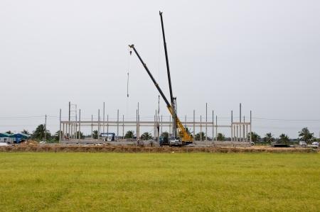 Construction on yellow rice farm