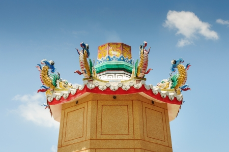 dragon on roof chinese temple Stock Photo