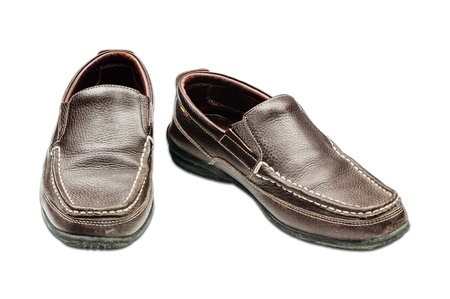 Old Brown leather shoes Stock Photo