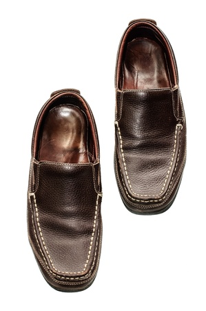Old Brown leather shoes photo